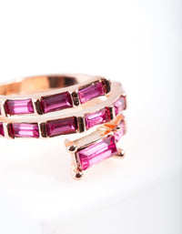 Rose Gold Pink Gem Baguette Wrap Band Ring - link has visual effect only