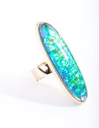 Gold Long Oval Foil Stone Ring - link has visual effect only