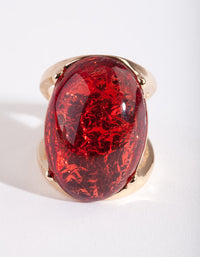 Gold Red Stone Foil Statement Ring - link has visual effect only