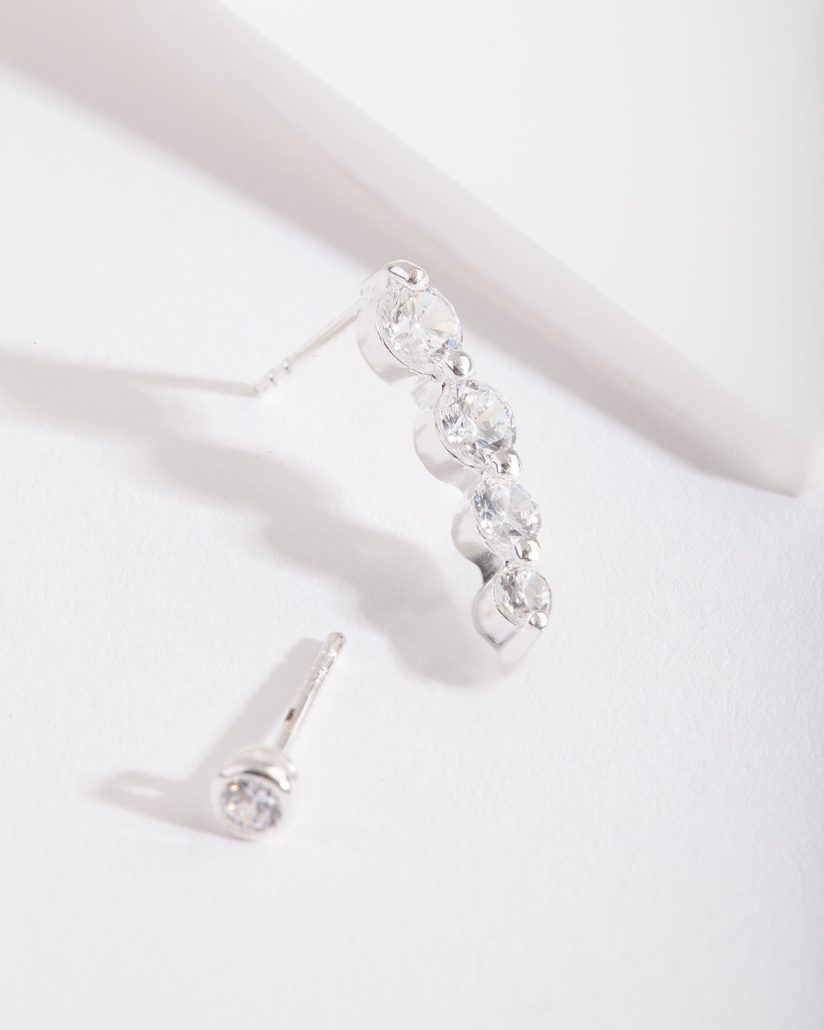Mixed Metal Cubic Zirconia Graduating Crawler Earring