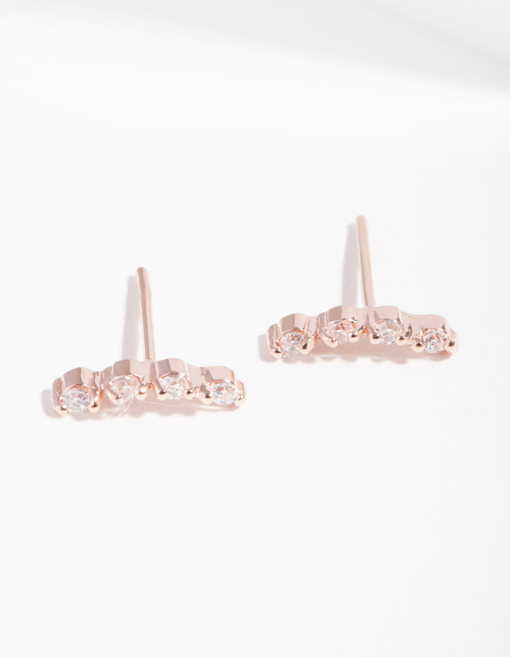 Rose Gold Plated Sterling Silver Cubic Zirconia Crawler Earrings