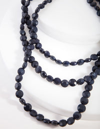 Midnight Blue 3 Row Facet Beaded Necklace - link has visual effect only