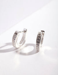 Sterling Silver Cubic Zirconia Huggie Earring - link has visual effect only