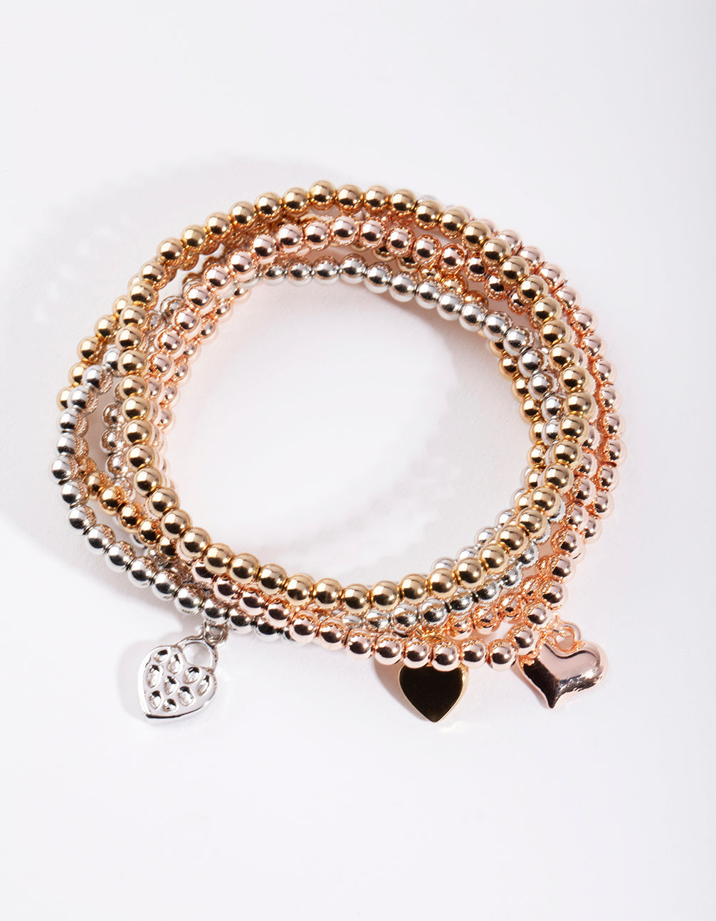 Mixed Metal Heart Bracelet 6 Pack