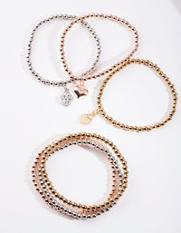 Mixed Metal Heart Bracelet 6 Pack - link has visual effect only