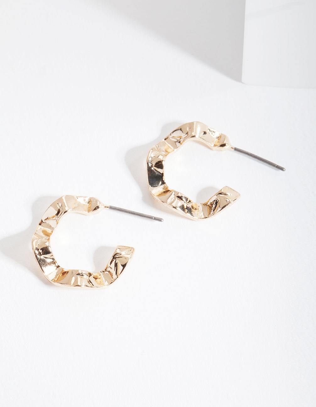 Gold Mini Wave Hoop Earrings