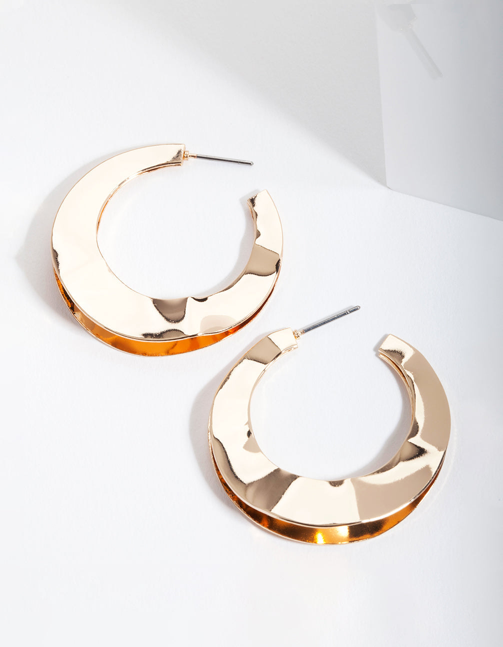 Gold Double Wobble Hoop Earrings