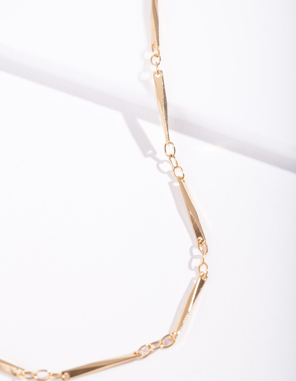 Real Gold Plated Long Rectangle Necklace