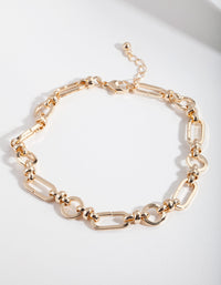 Gold Multi Shape Link Anklet - link has visual effect only