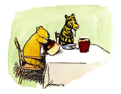 Pooh and Tigger Eating Honey Card
