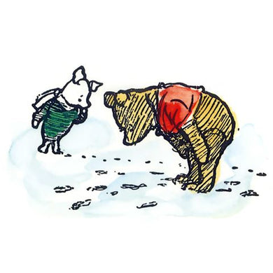 Pooh and Piglet Looking at Footprints