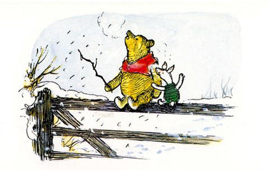Pooh and Piglet on Fence Card