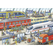 Load image into Gallery viewer, Busy Train Station 2x24pc pzl