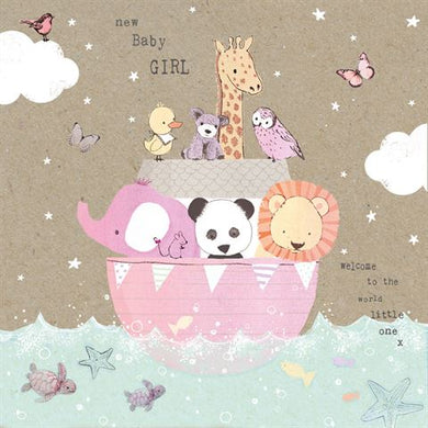 Animal Boat Baby Girl Card