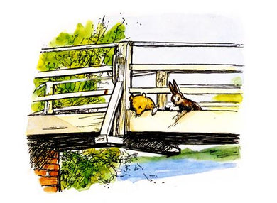Pooh and Rabbit On Bridge