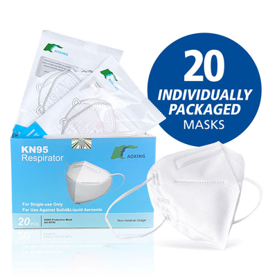 20 pack Individually Wrapped - Adult KN95 Advanced Protective Masks (CDC Tested and listed on FDA EUA, Appendix A)