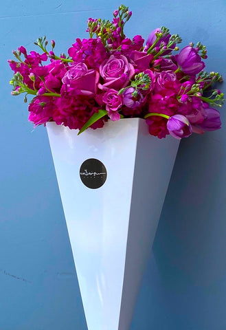 Purple Flowers Mix Cone - Bloom Plan Design Miami Flower Delivery Services Father' Day gift Dad