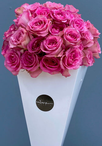 Pink Roses Cone - Bloom Plan Design Miami Flower Delivery Services Father' Day gift Dad