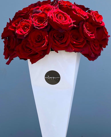 Red Roses Cone - Bloom Plan Design Miami Flower Delivery Services Father' Day gift Dad