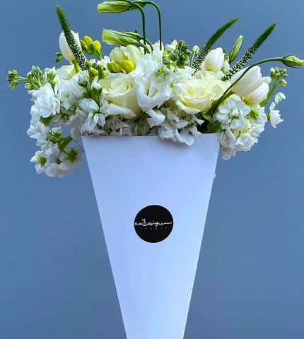 White Flowers Mix Cone - Bloom Plan Design Miami Flower Delivery Services Father' Day gift Dad