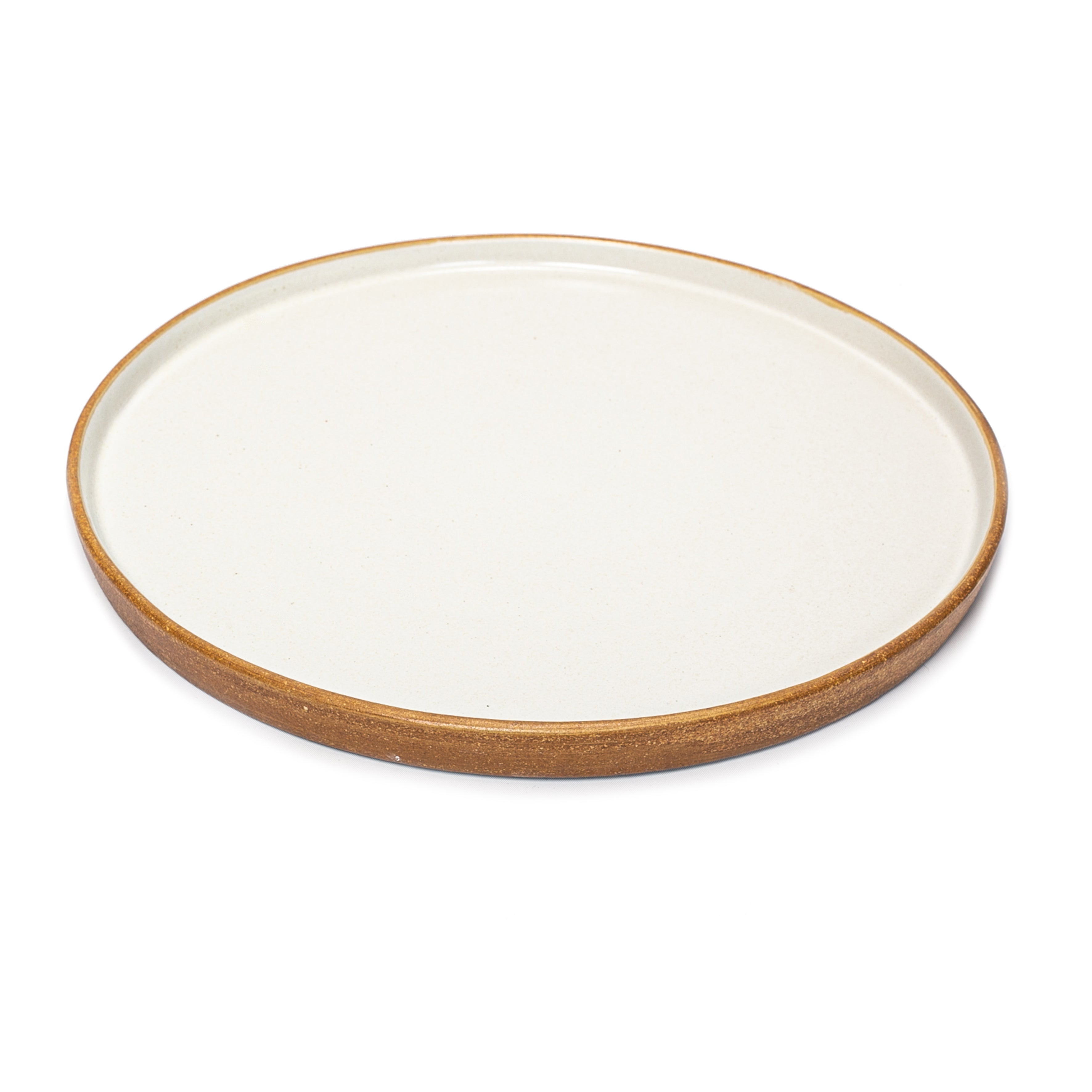 Matte White With Rye Edge Large Flat Plate  30cm Dia