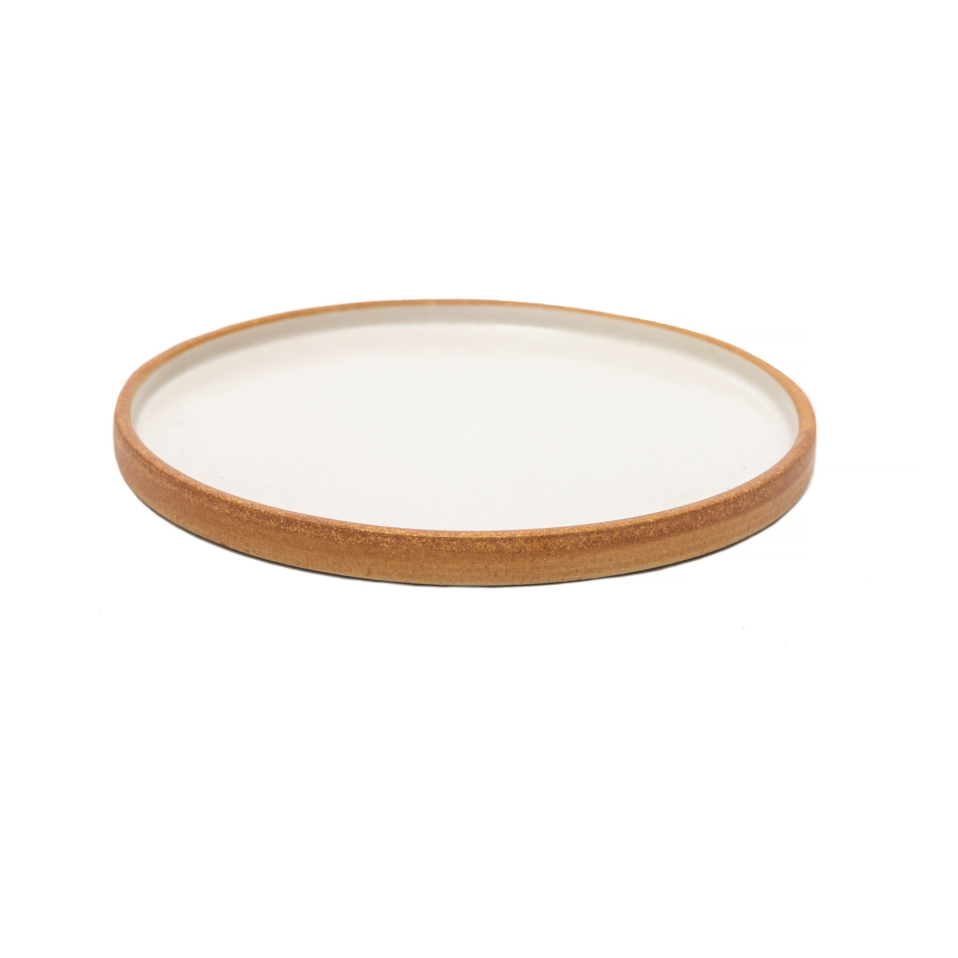 Matte White With Rye Edge Starter/Side Plate Flat Round 21cm Dia