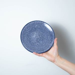 Blue Speckled Stoneware Small Round Plate - 1 case of 6