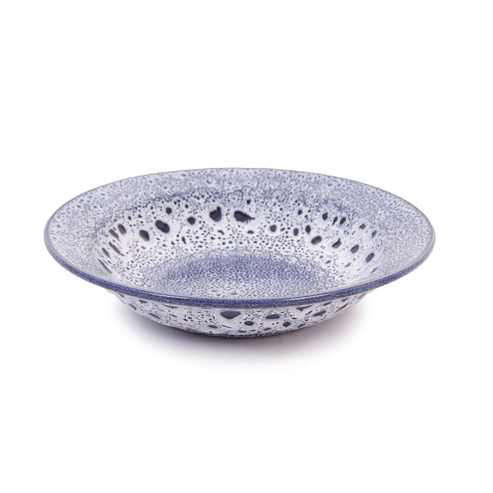 Sapphire Blue Speckled Stoneware Pasta Bowl With Rim 26cm Dia