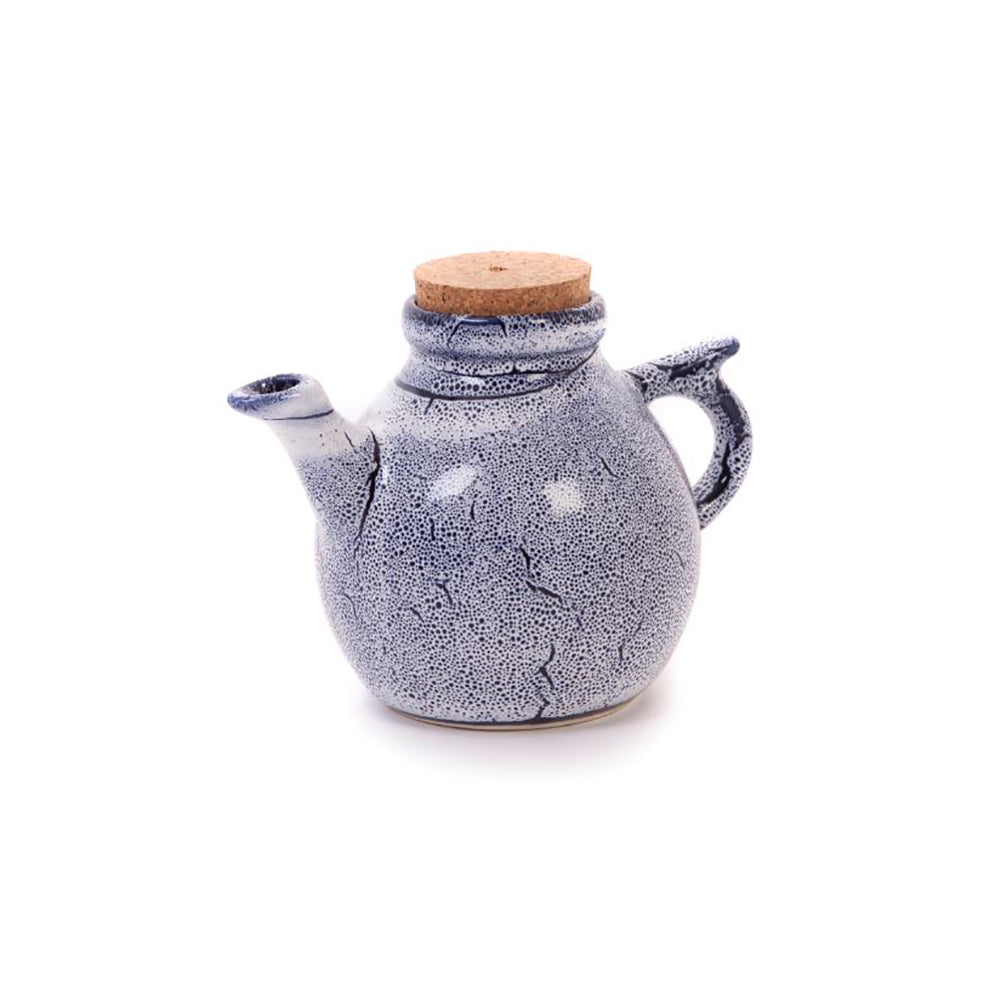 Sapphire Blue Speckled Stoneware Teapot With Cork Lid 400ml
