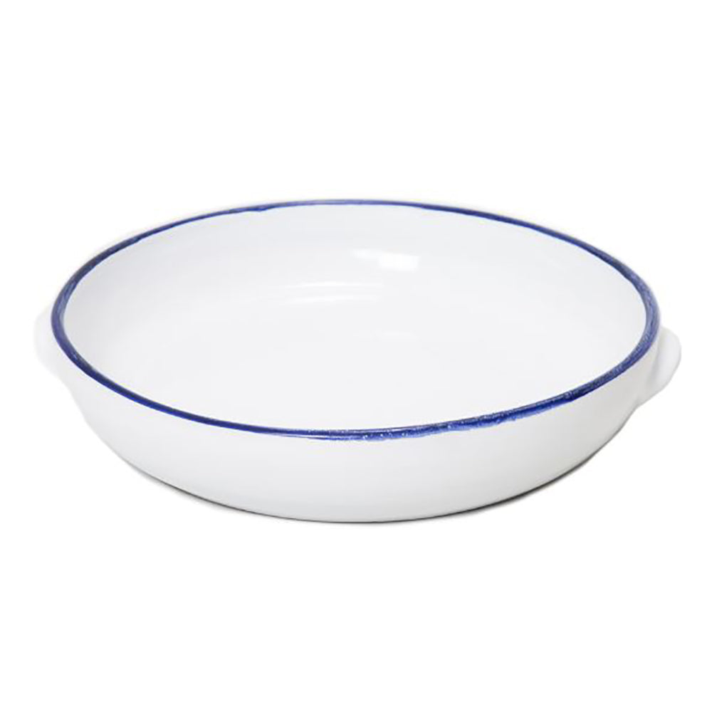 'Enamel Looking' Terracotta Pan White With Blue Rim 2 Handles - 31cm Dia x 7cm H
