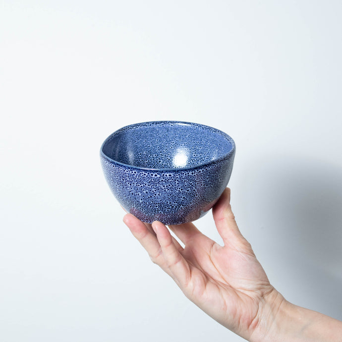 Blue Speckled Stoneware Side Pot 13cm Dia - 1 case of 6