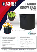 Load image into Gallery viewer, Spear and Jackson - 11 Litre Grow Bag, Re-useable, Breathable fabric, speeds up growing time