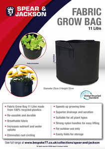 Spear and Jackson - 11 Litre Grow Bag, Re-useable, Breathable fabric, speeds up growing time