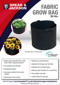 Spear and Jackson - 26 Litre Grow Bag, Re-useable, Breathable fabric, speeds up growing time