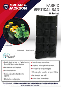 Spear and Jackson - 37 Litre Grow Bag, Re-useable, Breathable fabric, speeds up growing time, great for small spaces.