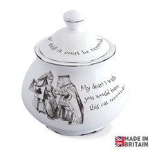 Load image into Gallery viewer, Queen of Hearts & Cheshire Cat Sugar Bowl with Lid