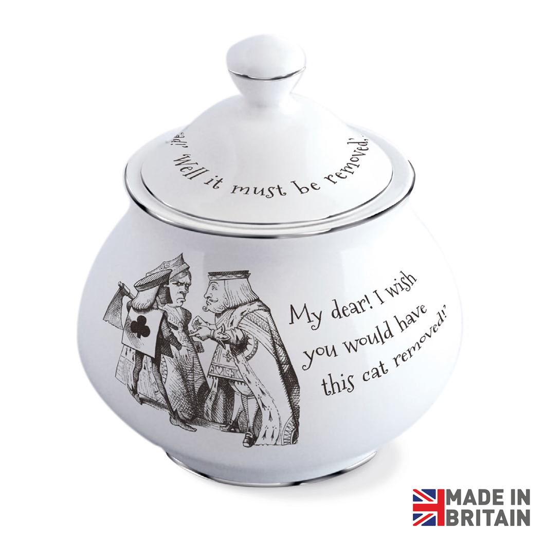 Queen of Hearts & Cheshire Cat Sugar Bowl with Lid