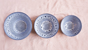 Blue Speckled Stoneware Salad Bowl 28cm Dia x 12cm H