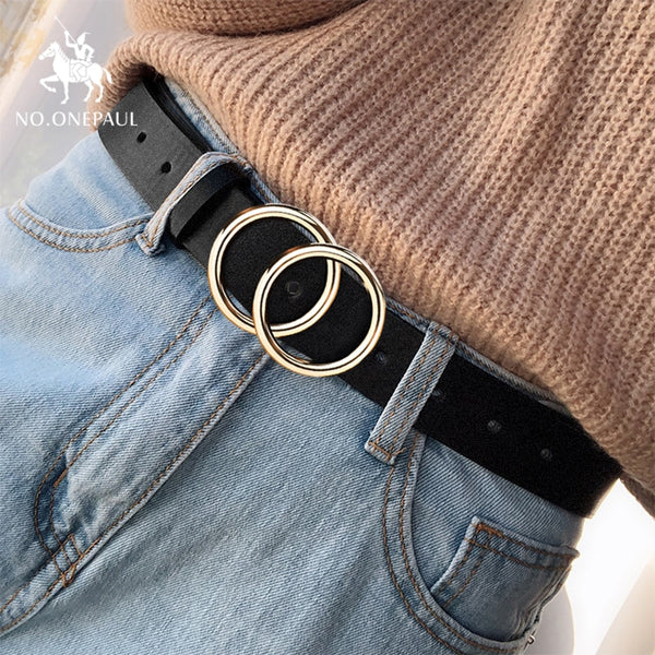 Leather High Quality Alloy Double Ring Belt - ikeeki.com
