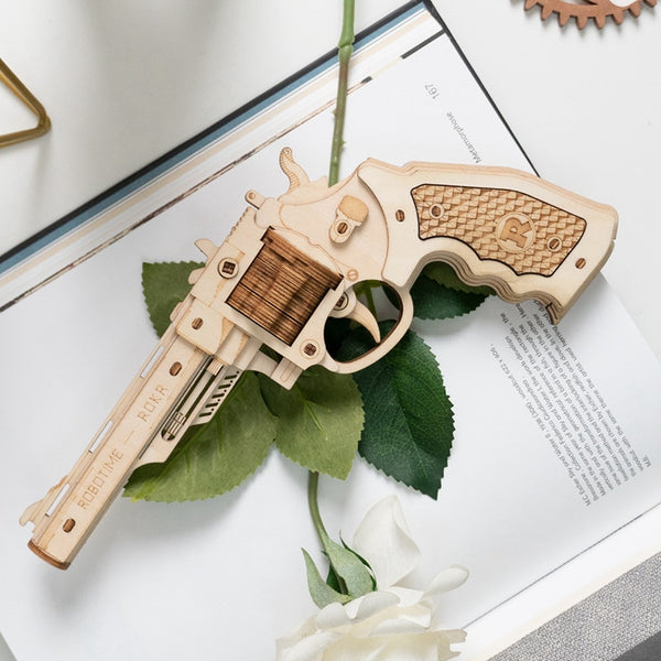 Revolver 3D With Rubber Band Bullet Toy
