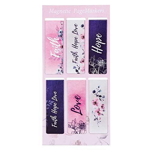 "Christian Art Gifts Set of 6 Faith Hope Love Pink Flowers Inspirational Magnetic Bible Verse Bookmark with Scripture, Size Small 2.25"" x .75"""