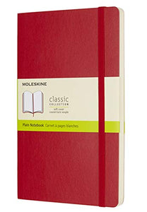 "Moleskine Classic Notebook, Soft Cover, Large (5"" x 8.25"") Plain/Blank, Scarlet Red, 192 Pages"