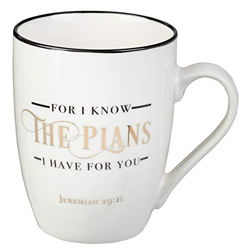 I Know The Plans Jeremiah 29:11 Ceramic Christian Coffee Mug for Women and Men - Inspirational Coffee Cup and Christian Gifts (12-Ounce Ceramic Cup)