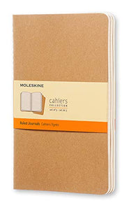 "Moleskine Cahier Journal, Soft Cover, Large (5"" x 8.25"") Ruled/Lined, Kraft Brown, 80 Pages (Set of 3)"