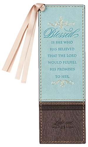 Christian Art Gifts Blue Faux Leather Bookmark | Blessed Is She - Luke 1:45 Bible Verse Inspirational Bookmark for Women w/Satin Ribbon Tassel