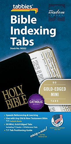 Tabbies Mini Gold-Edged Bible Indexing Tabs, Old & New Testament Plus Catholic Books, 90 Tabs Including 71 Books & 19 Reference Tabs (58352)