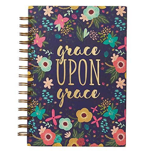 Christian Art Gifts Large Hardcover Notebook/Journal | Grace Upon Grace ? John 1:16 Bible Verse | Pink Floral Inspirational Wire Bound Spiral Notebook w/ 192 Lined Pages, 6? x 8.25?