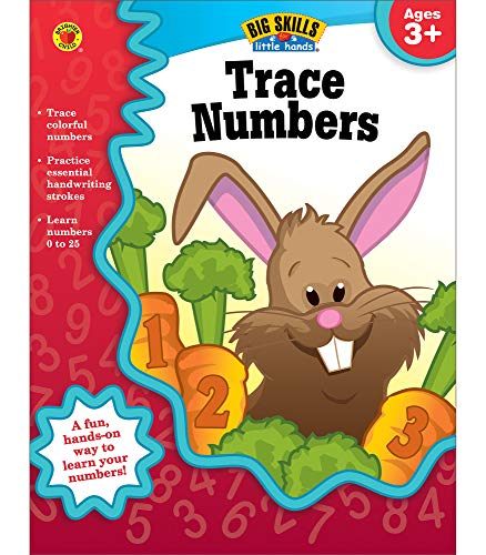 Carson Dellosa Trace Numbers Workbook for Preschool-Kindergarten?Number Tracing Practice Book, Ages 3-5, PreK-Kindergarten, Homeschool, Daycare (32 pgs) (Big Skills for Little Hands®)