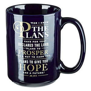Christian Encouragement Gifts for Men - For I Know The Plans Coffee Cup w/Jeremiah 29:11 Scripture Verse Navy Coffee Mug for Men (14-Ounce Ceramic)