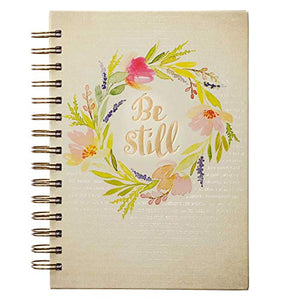 Christian Art Gifts Large Hardcover Notebook/Journal | Be Still Watercolor ? Psalm 46:10 Bible Verse | Floral Inspirational Wire Bound Spiral Notebook w/192 Lined Pages, 6? x 8.25?